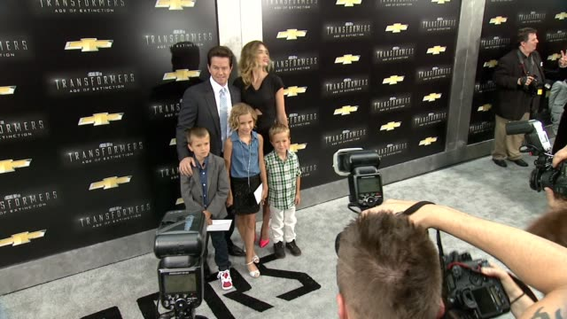 Mark Wahlberg with wife Rhea Durham and family at 'Transformers Age Of Extinction' New York Premiere at Ziegfeld Theatre on June 25 2014 in New York...