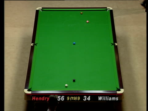 mark williams lays another snooker for stephen hendry who escapes but leaves brown over pocket during tense deciding frame the masters final wembley... - pool cue sport stock videos & royalty-free footage