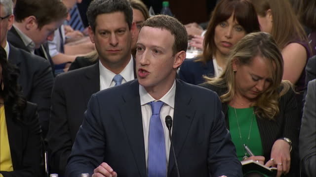 vídeos y material grabado en eventos de stock de mark zuckerberg, ceo of facebook, testifying in front of the joint senate judiciary and the senate commerce, science and transportation committee... - 2018