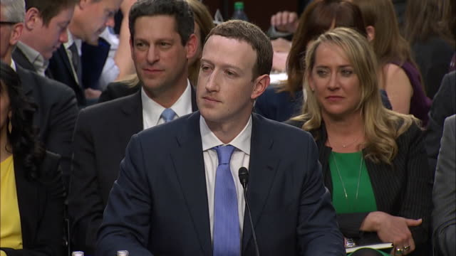 mark zuckerberg, ceo of facebook, testifying in front of the joint senate judiciary and the senate commerce, science and transportation committee... - congress stock videos & royalty-free footage