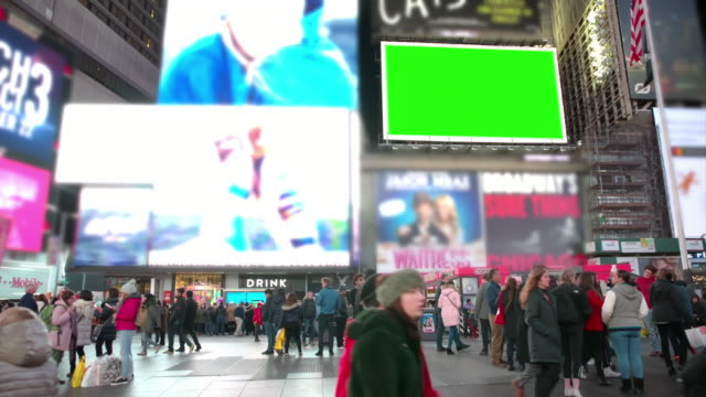 nyc markedting time square people crowd green screen chromakey - billboard stock videos & royalty-free footage