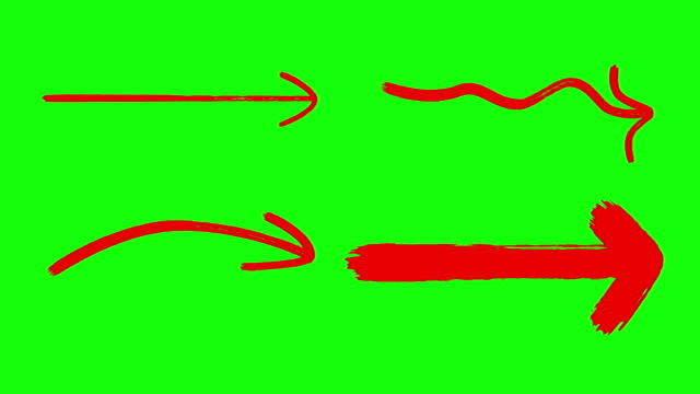 vídeos de stock e filmes b-roll de marker arrows, hand drawing arrows green screen red color - arrow symbol