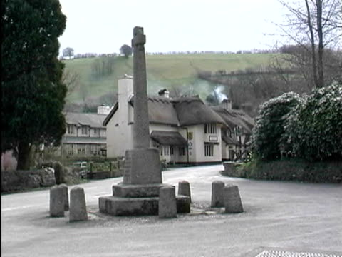 market cross and thatched roof house - thatched roof stock videos & royalty-free footage