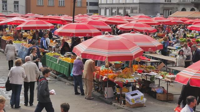 market in zagreb, croatia - zagreb stock videos & royalty-free footage