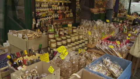 market stall in brixen (bressanone) in south tyrol - four people stock videos & royalty-free footage