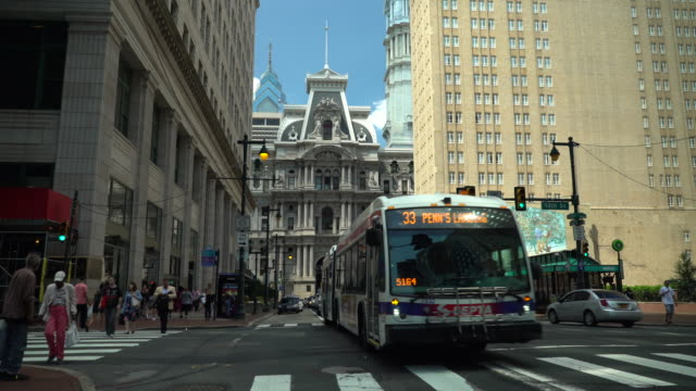 market street and city hall - philadelphia, pa - philadelphia pennsylvania video stock e b–roll