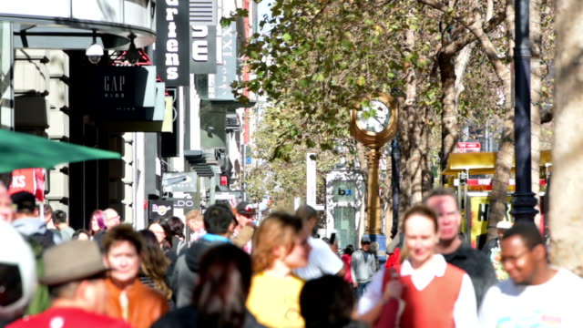 market street crowds san francisco - market retail space stock videos & royalty-free footage