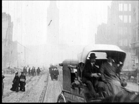 pov market street san francisco after 1906 earthquake - 1900~1909年点の映像素材/bロール