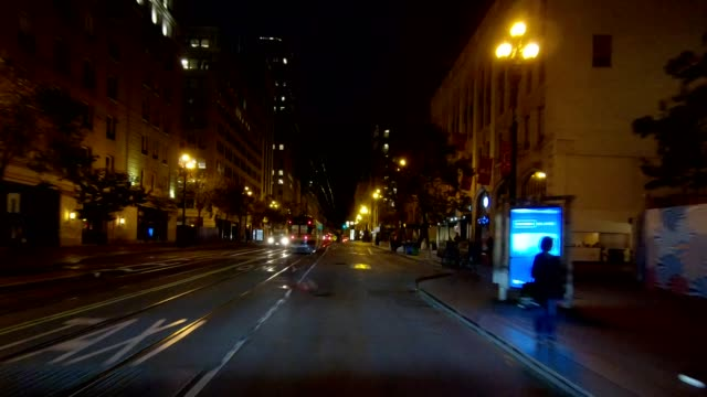 sf market street xvi synced series front view driving process plate - moving process plate stock videos & royalty-free footage