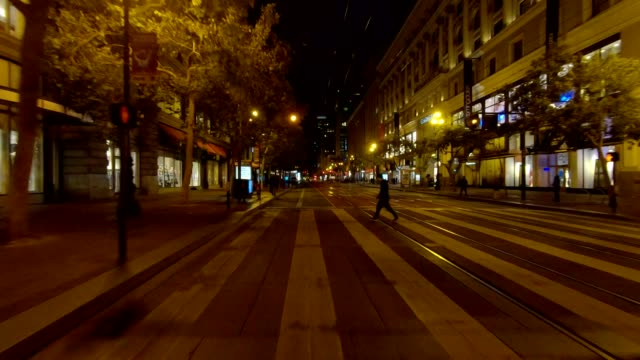 sf market street xvii synced series rear view driving process plate - moving process plate stock videos and b-roll footage