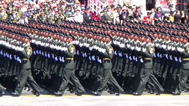 marking the 70th anniversary of the victory in the war against japan china made two conflicting appeals showing the world its growing military might... - parade stock videos & royalty-free footage