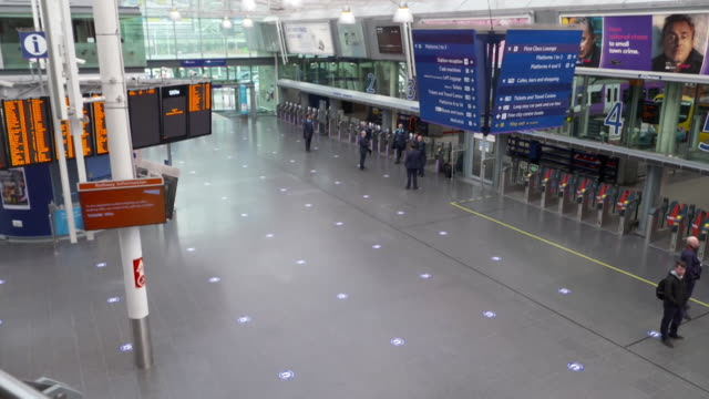 markings on floor at manchester picadilly train station show the 2 metre social distancing rule people are to observe during the coronavirus crisis - mode of transport stock videos & royalty-free footage
