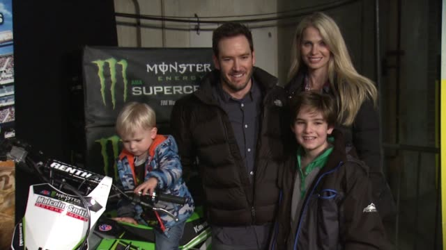 mark-paul gosselaar, catriona mcginn, dekker edward gosselaar, and lachlyn hope gosselaar at monster energy supercross celebrity night at angel... - angel stadium stock videos & royalty-free footage