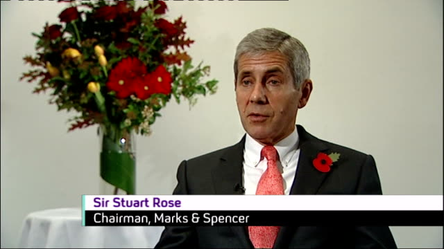 Marks and Spencer announces fall in profits ENGLAND London INT Sir Stuart Rose interview SOT