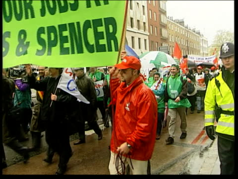 Marks and Spencer European workers protest EN CHRIS London EXT Marks Spencer store PULL OUT PAN employees from stores in continental Europe that face...