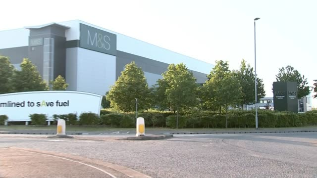 marks and spencer to close over 100 stores england leicestershire castle donington ext general view of ms distribution centre judi bevan interview... - 金融と経済点の映像素材/bロール