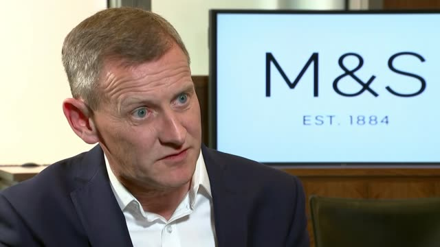 marks and spencer to close over 100 stores england london int steve rowe interview sot northampton ext boardedup closed down bhs store pan to marks... - northampton stock-videos und b-roll-filmmaterial