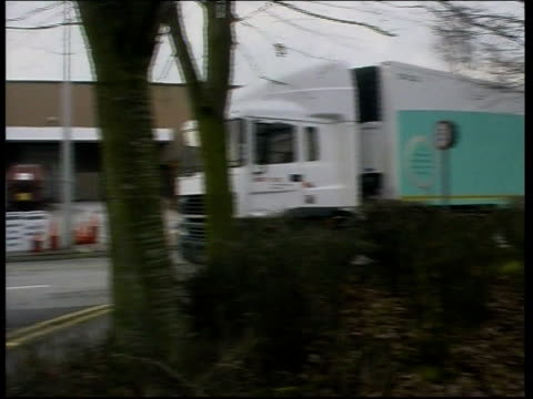 Marks Spencers to cut 4500 jobs ITN Warrington S lorry parked outside MS mail order factory PAN MS Staff in office