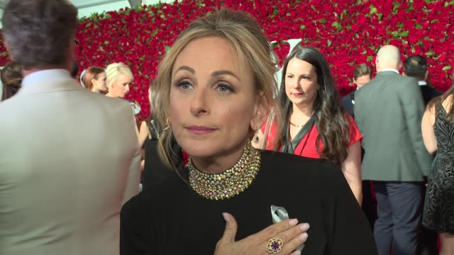 interview marlee matlin talks about wearing a silver ribbon at 2016 tony awards red carpet at 2016 tony awards red carpet at the beacon theatre on... - 70th annual tony awards stock videos and b-roll footage
