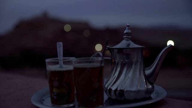 marocko traditional mint tea - tea pot stock videos and b-roll footage