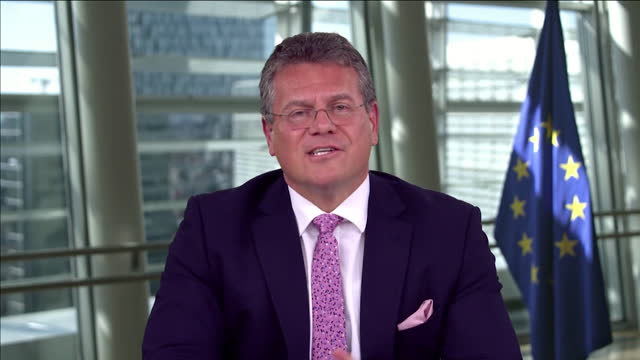"""maros sefcovic saying the eu are working towards allowing british holidaymakers to travel to europe after the coronavirus crisis - """"bbc news"""" stock videos & royalty-free footage"""