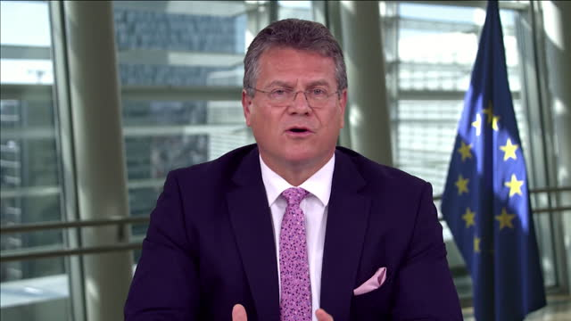 """maros sefcovic saying the eu took legal action against the uk because it breached international law - """"bbc news"""" stock videos & royalty-free footage"""