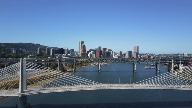 Marquam Bridge and Tilikum Crossing, Portland, OR - Aerial View