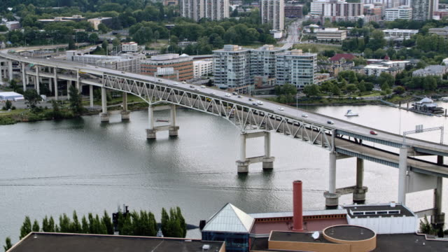 AERIAL Marquam Bridge and Tilikum Crossing with the city of Portland in the background