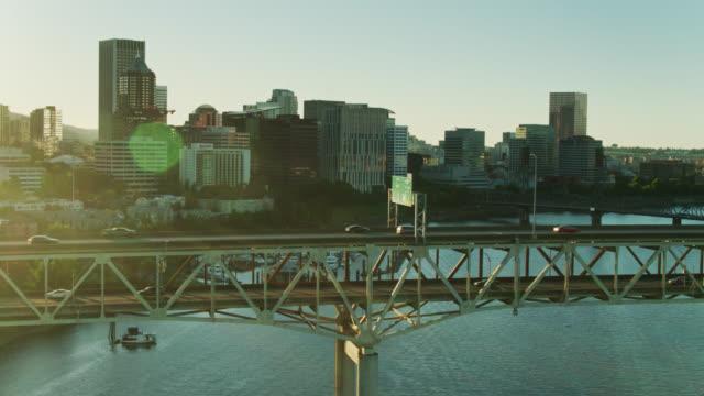 marquam bridge in portland, oregon - aerial - portland oregon stock videos & royalty-free footage