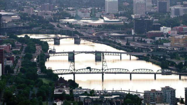 AERIAL Marquam Hill and Downtown Portland with the Willamette River