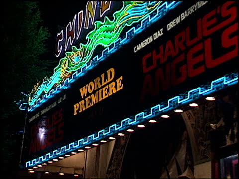 marquee at the 'charlie's angels' premiere at grauman's chinese theatre in hollywood, california on october 22, 2000. - tcl chinese theatre stock videos & royalty-free footage