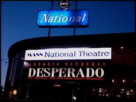 marquee at the 'desperado' premiere on august 21 1995 - 1995 stock-videos und b-roll-filmmaterial
