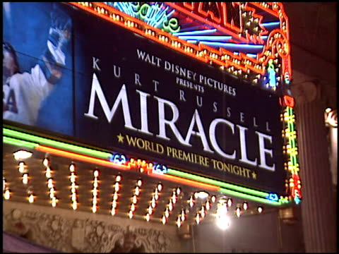marquee at the 'miracle' premiere at the el capitan theatre in hollywood, california on february 2, 2004. - el capitan theatre stock videos & royalty-free footage