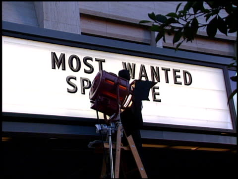 marquee at the 'most wanted' premiere at cineplex odeon century plaza in century city california on october 7 1997 - odeon kinos stock-videos und b-roll-filmmaterial