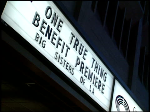 marquee at the 'one true thing' premiere at cineplex odeon in century city california on september 16 1998 - odeon kinos stock-videos und b-roll-filmmaterial