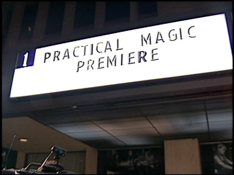 marquee at the 'practical magic' premiere at cineplex odeon in century city, california on october 13, 1998. - odeon cinemas点の映像素材/bロール