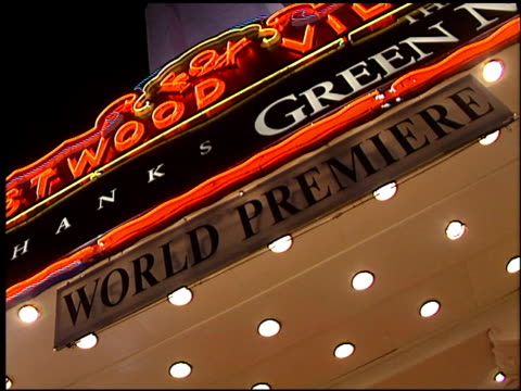 marquee at the premiere of 'the green mile' at the mann village theatre in westwood, california on december 6, 1999. - westwood video stock e b–roll