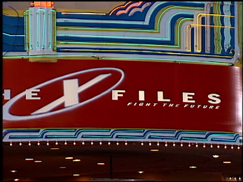 marquee at the premiere of 'the x files fight the future' on june 11 1998 - the x files stock videos & royalty-free footage