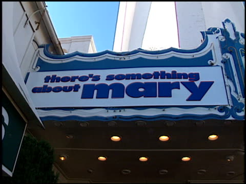 marquee at the 'there's something about mary' premiere at the mann village theatre in westwood california on july 9 1998 - レジェンシービレッジシアター点の映像素材/bロール