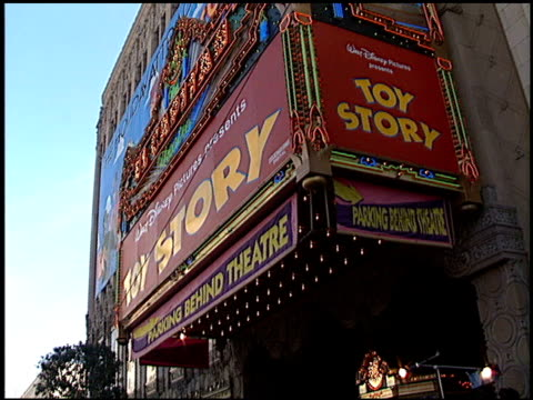 marquee at the 'toy story' premiere at the el capitan theatre in hollywood california on november 19 1995 - el capitan theatre stock videos & royalty-free footage