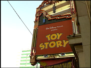 marquee at the 'toy story' premiere at the el capitan theatre in hollywood, california on november 19, 1995. - 1995 stock videos & royalty-free footage