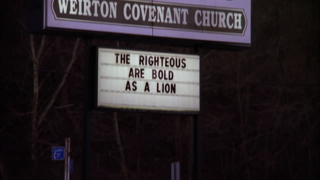 A marquee at Weirton Covenant Church proclaims that Jesus is Lord. Available in HD.
