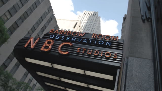 marquee entrance to new york city's nbc studio - rockefeller center stock videos & royalty-free footage