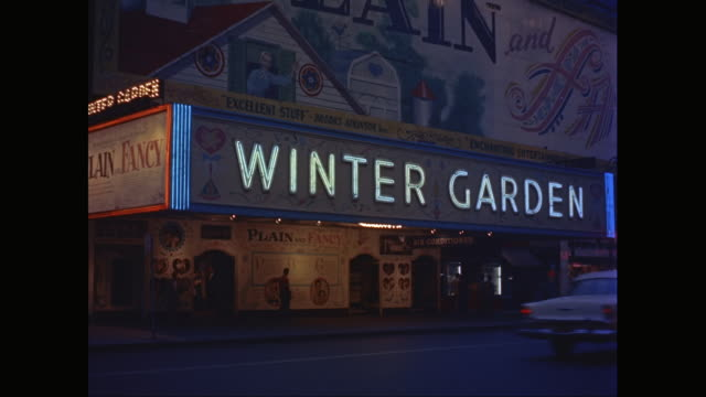 ms marquee for the winter garden broadway theater with vehicles moving on street / new york city, new york state, united states - broadway stock videos & royalty-free footage