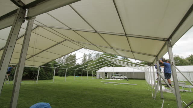 marquee roof timelapse - tent stock videos & royalty-free footage