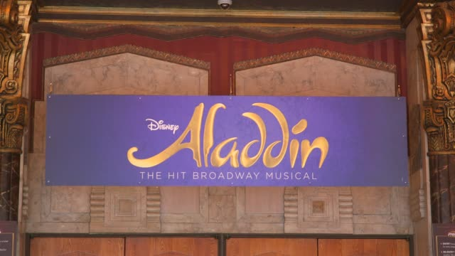 """marquee sign on the hollywood pantages theatre for aladdin at """"aladdin"""" - a behind the scenes look on august 31, 2018 in los angeles, california. - pantages theater stock videos & royalty-free footage"""