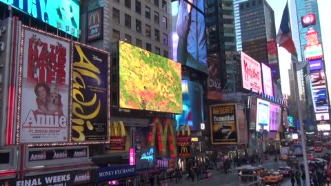 marquees for broadway shows in times square, over seventh avenue and broadway. father duffy square. - theatre banner commercial sign stock videos & royalty-free footage