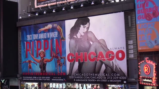 marquees for broadway shows in times square, rocky, motown and chicago father duffy square. - theatre banner commercial sign stock videos & royalty-free footage
