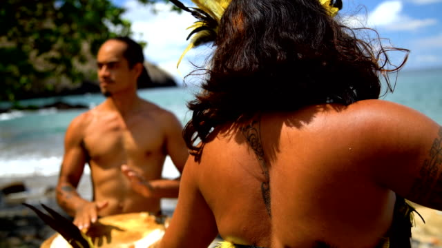 marquesas group performing traditional bird dance nuku hiva - tahitian culture stock videos and b-roll footage