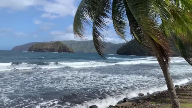 marquesas island locals prepare to welcome french president emmanuel macron - french polynesia stock videos & royalty-free footage